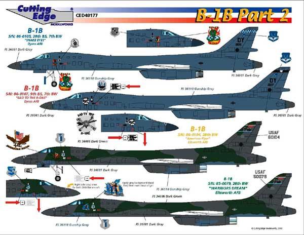 B-1B Lancer Decals Preview by Brett Green (Cutting Edge ... B1 Lancer Vs Tu 160
